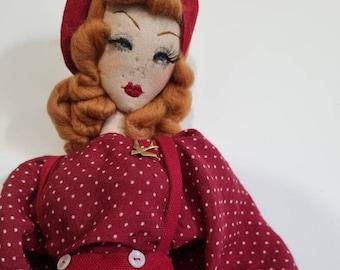 Ginger - Vintage 1940s inspired Textile Cloth Display Doll OOAK