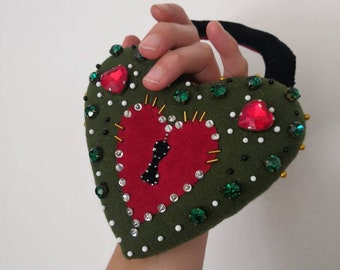 The Lovers Padlock Pin Cushion - Sweetheart Beaded Heart Cushion