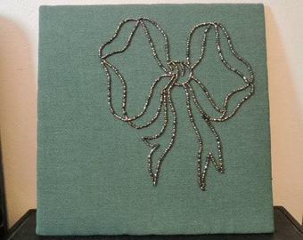 Steel Cut Beads Beaded Ribbon Bow on Turquoise Embroidery Sample