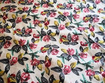 Vintage 1950s Floral Rose Print Cotton Dress Fabric