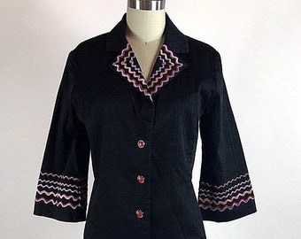 a67eb99743a1b Vintage 1990s XS Bob Mackie Wearable Art Black Embroidered Button Up Top  Blouse