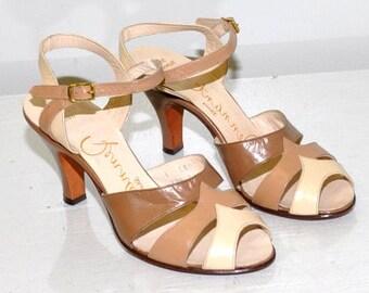 c8295818c9de7 Vintage 1940s Peep Toe Sandals