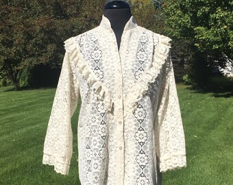 Vintage 70s Ivory Sheer Lace Top