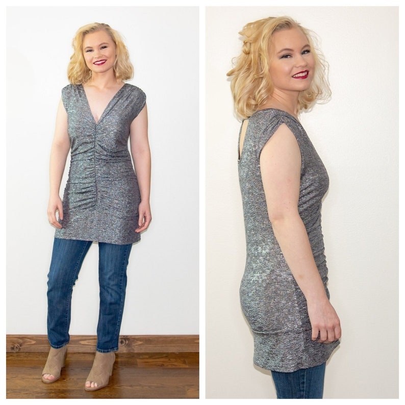 Vintage 1980s Metallic Silver Ruched Tunic Size Large