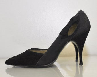 Vintage 1950s Heels / 50s Vintage Formal Dress Heels / EXQUISITE Vintage 50s Black Bow Tie Affair Stiletto Heels / Size 5/ La Pattie