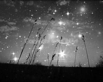Only the stars and me . black and white nature photograph - visionary goth wall art, office, or home decor inspirational dreamy night sky