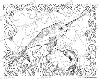 Narwhal Family Adult Coloring Book Page Whale Unicorn Instant Download Digital File Under Sea Fantasy Print And Color