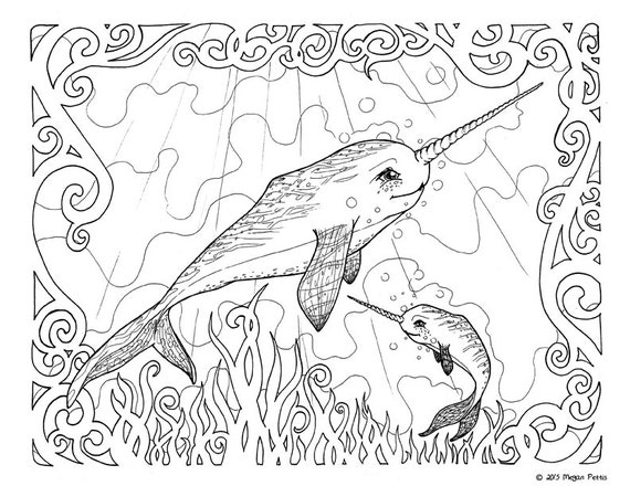 Narwhal Family Adult Coloring Book Page Whale Unicorn Etsy