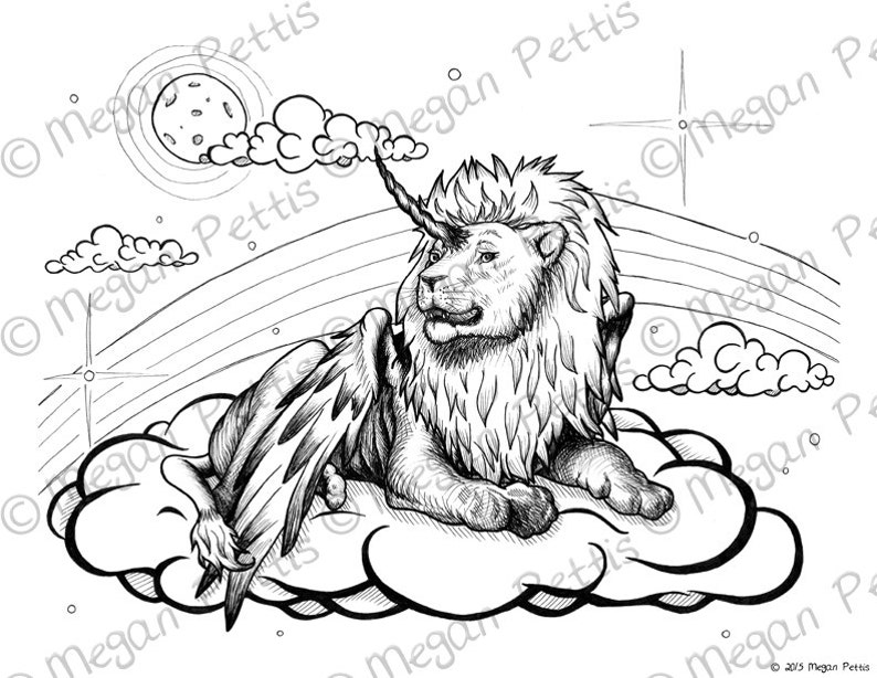 King Of The Clouds Winged Lion Unicorn Adult Coloring Book Etsy