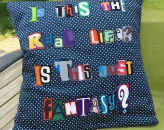 Bohemian rhapsody ransom note lyric pillow cover