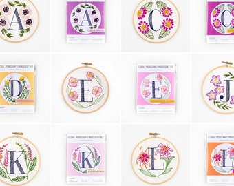 Any Two Floral Monogram Embroidery Kits - Personalized Gift, DIY