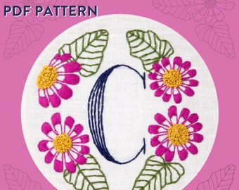 Monogram Flower PDF Pattern - C is for Cineraria
