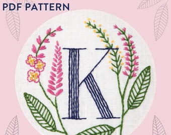 Monogram Flower PDF Pattern - K is for Knotweed