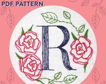 Monogram Flower PDF Pattern - R is for Rose