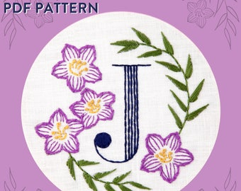 Monogram Flower PDF Pattern - J is for Jacob's Ladder