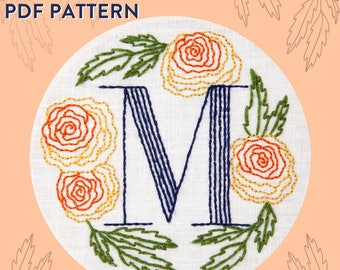 Monogram Flower PDF Pattern - M is for Marigold