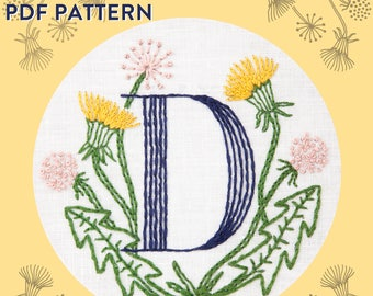 Monogram Flower PDF Pattern - D is for Dandelion