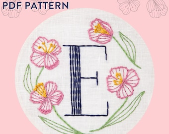 Monogram Flower PDF Pattern - E is for Evening Primrose
