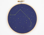 Aries Zodiac Embroidery Kit - DIY constellation embroidery kit, Personalized Gift, Birthday Gift, New Baby Gift, Wall Decor