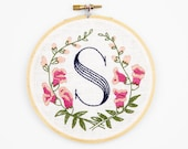 S is for Snapdragon, Floral Monogram Embroidery Kit - Personalized Gift, DIY