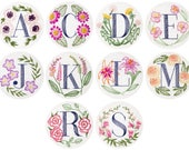 Any Four Floral Monogram Embroidery Kits - Personalized Gift, DIY