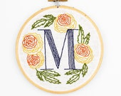 M is for Marigold, Floral Monogram Embroidery Kit - Personalized Gift, DIY