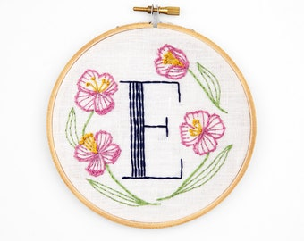 E is for Evening Primrose, Floral Monogram Embroidery Kit - Personalized Gift, DIY