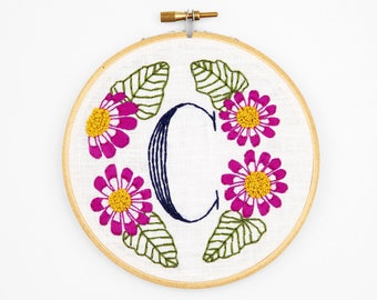 C is for Cineraria, Floral Monogram Embroidery Kit - Personalized Gift, DIY