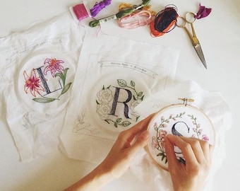 Three Floral Monogram Embroidery Kits - Personalized Gift, DIY