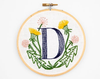 D is for Dandelion, Floral Monogram Embroidery Kit - Personalized Gift, DIY