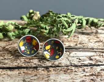 marigold and poppy graffiti modern post earrings