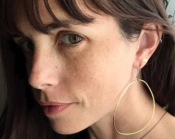 city dweller brass hoop earrings