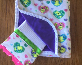Froggie Flannel Blanket and Burp Cloth Set...Ready to Ship