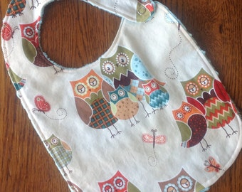 ON SALE - Owl Minky Baby/Toddler Bib - Last One