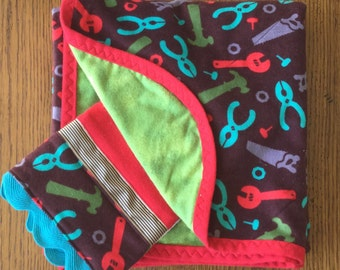 Flannel Tool Blanket and Burp Cloth Set...Ready to Ship
