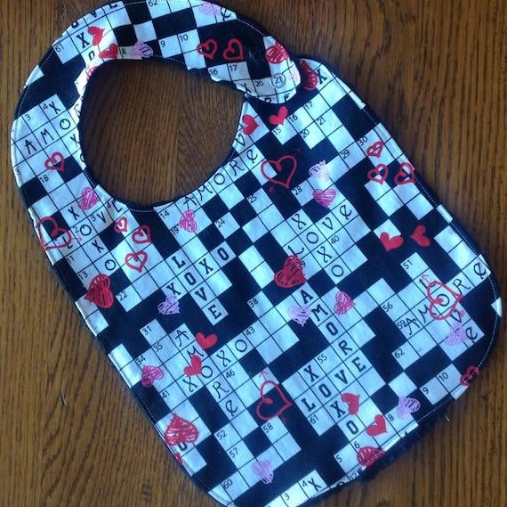 Valentine S Day Crossword Puzzle Minky Baby Toddler Bib Etsy
