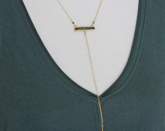 Druzy Bar Necklace with Long Gold Spike Drop