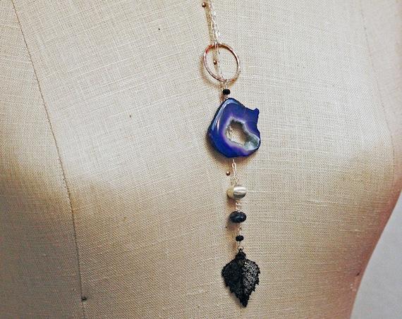 Druzy Necklace - Lariat Necklace - Sterling Silver Druzy Necklace - Blue Druzy-- Ready to Ship -