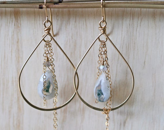 Solar Quartz Hoop Earrings with Chain