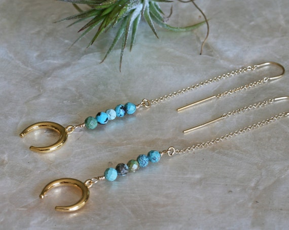 Gold Crescent Moon Threader Earrings with Turquoise Accents, Long Turquoise Earrings