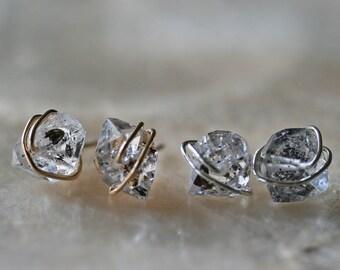 Herkimer Diamond Stud Earrings, Gold Herkimer Diamond Stud Earrings, Silver Herkimer Diamond Stud Earrings