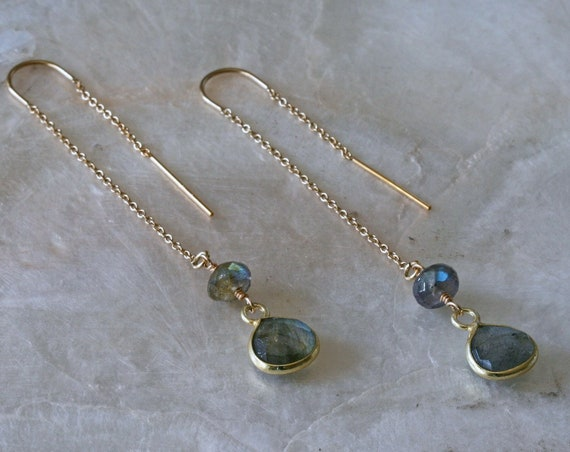 Gold Labradorite Threader Earrings