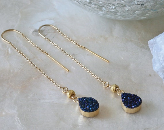 Blue Druzy Threader Earrings,