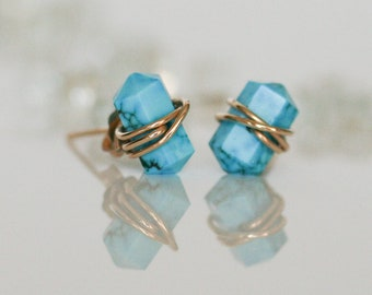 Turquoise Stud Earrings, Turquoise Point Earrings, Natural Turquoise Earrings, Gold Wrapped Turquoise Studs, December Birthstone, Birthday