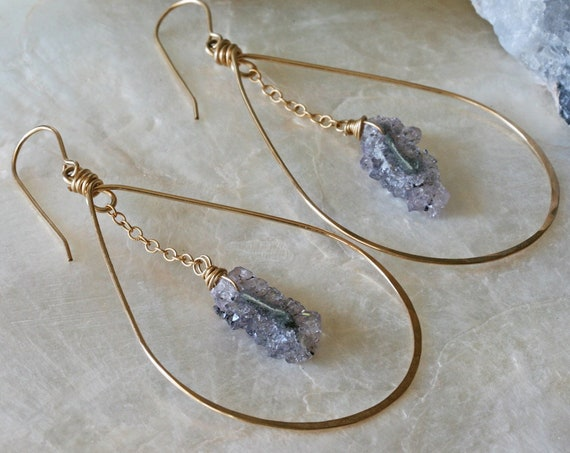 Amethyst Crystal Gold Hoop Earrings