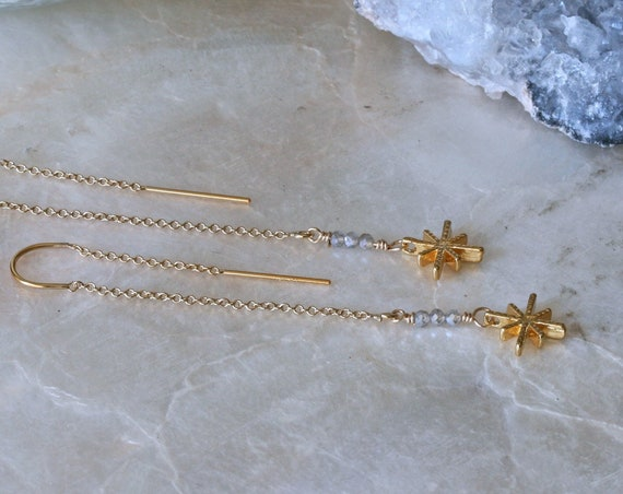 Gold Star Threader Earrings with Labradorite