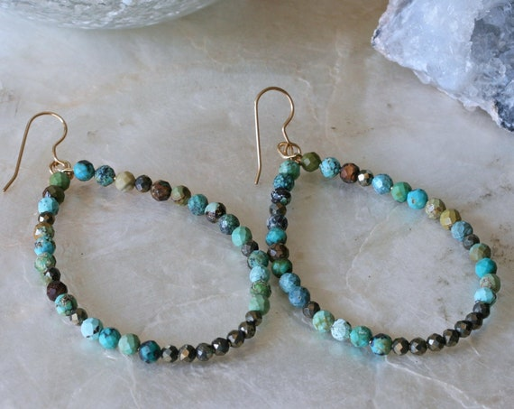 Beaded Turquoise and Pyrite Teardrop Shaped Hoop Earrings, 14k Gold Filled