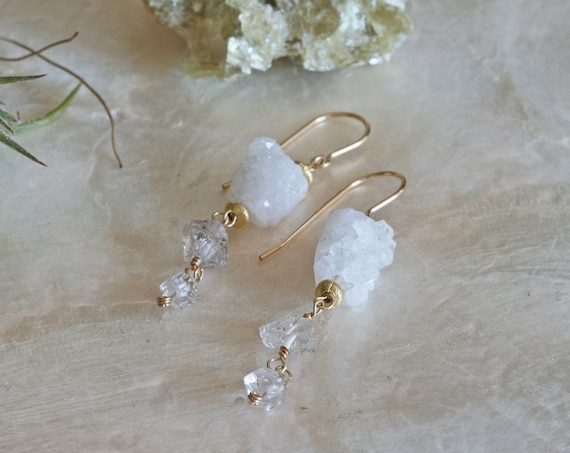 Herkimer Diamond Earrings || Druzy Earrings || Crystal Dangle Earrings || White Dangle Earrings || Gold Herkimer Diamond Earrings