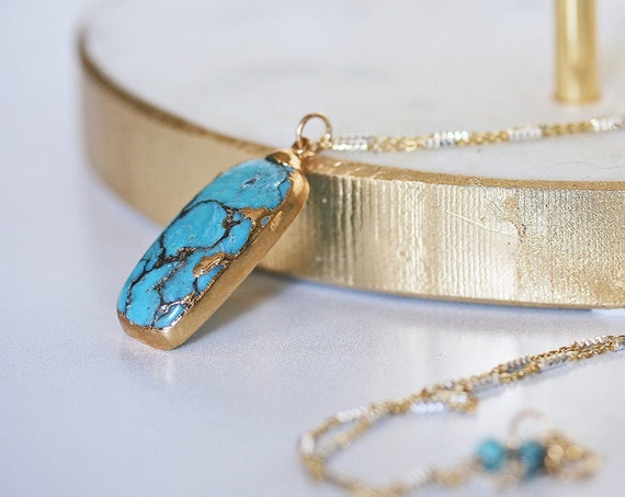 Gold Dipped Turquoise Pendant Necklace