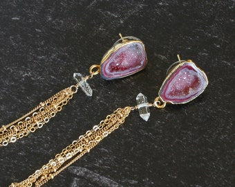 Burgundy Druzy Tassel Earrings with Herkimer Diamonds     Druzy Stud Earrings     Gold Chain Tassel Earrings    Long Druzy Earrings